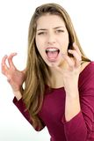 Adolescente infeliz que grita aislado ruidosamente Foto de archivo