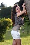 Adolescente inofensivo y atractivo del pelo largo Fotos de archivo