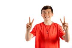Adolescente joven aislado en blanco Fotografía de archivo libre de regalías