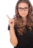 Adolescente joven atractivo que tiene una buena idea - aislada sobre un w Imagen de archivo