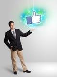 Adolescente joven con como el medios ejemplo social Imagen de archivo libre de regalías
