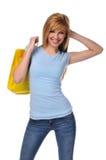 Adolescente joven con el bolso de compras Foto de archivo libre de regalías