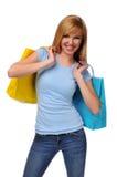 Adolescente joven con el bolso de compras Foto de archivo