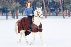 Adolescente joven con el caballo blanco en parque del invierno Imágenes de archivo libres de regalías