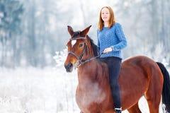 Adolescente joven con el caballo de bahía en parque del invierno Fotografía de archivo libre de regalías