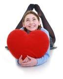 Adolescente joven con el corazón rojo Imagen de archivo libre de regalías