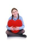 Adolescente joven con el corazón rojo Imágenes de archivo libres de regalías