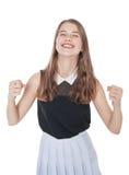 Adolescente joven con gesto del sí aislado Fotos de archivo