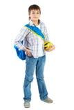 Adolescente joven con la bola sobre blanco Fotos de archivo