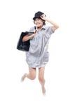 Adolescente joven, enérgio que salta y que salta Fotografía de archivo libre de regalías