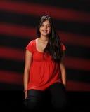 Adolescente joven feliz en rojo Fotografía de archivo libre de regalías