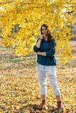 Adolescente joven hermoso que presenta debajo de árbol con las hojas amarillas en el parque en el otoño Foto de archivo libre de regalías