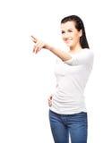 Adolescente joven y atractivo que presiona el botón imaginario Fotos de archivo