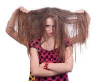 Adolescente lindo con el pelo enredado descuidado Imagen de archivo libre de regalías