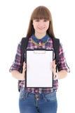Adolescente lindo con el tablero en blanco aislado en blanco Imagen de archivo