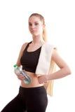 Adolescente lindo con la botella de agua en manos Fotografía de archivo libre de regalías