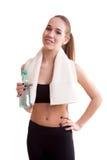 Adolescente lindo con la botella de agua en manos Imagenes de archivo
