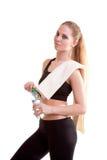 Adolescente lindo con la botella de agua en manos Fotografía de archivo