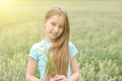 Adolescente lindo con las margaritas encantadoras de la cosecha de la sonrisa Foto de archivo libre de regalías