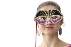 Adolescente lindo con una máscara del carnaval de Venitian Foto de archivo