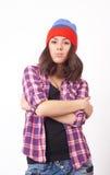 Adolescente lindo del inconformista con el sombrero de la gorrita tejida Fotos de archivo libres de regalías