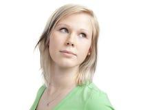 Adolescente lindo en camisa verde Imagen de archivo libre de regalías