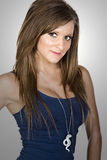 Adolescente lindo en chaleco azul Fotos de archivo