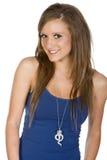 Adolescente lindo en chaleco azul Foto de archivo libre de regalías