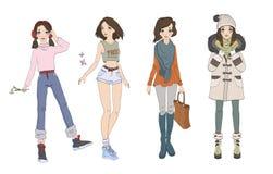 Adolescente lindo en diversos equipos de las estaciones Ropa por cuatro estaciones Conjunto de caracteres Ilustración del vector stock de ilustración