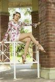 Adolescente lindo en el vestido de flores Imágenes de archivo libres de regalías