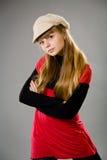 Adolescente lindo que desgasta una boina Fotografía de archivo