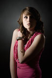 Adolescente lindo que mira para arriba Fotografía de archivo