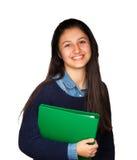 Adolescente lindo que sonríe en el fondo blanco Imagenes de archivo