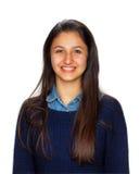 Adolescente lindo que sonríe en el fondo blanco Imagen de archivo
