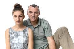 Adolescente lindo y su padre en ropa casual Fotografía de archivo