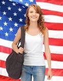 Adolescente in maglietta bianca in bianco Fotografia Stock Libera da Diritti