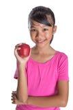 Adolescente malayo asiático joven con Apple rojo IX Fotografía de archivo libre de regalías