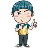 Caráter novo do menino - franzindo seus bordos com mão numeram um Fotografia de Stock