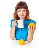 Adolescente-muchacha con la taza de café Fotos de archivo