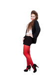 Adolescente na roupa preta e vermelha Fotos de Stock