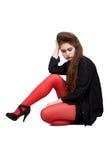 Adolescente na roupa preta e vermelha Fotos de Stock Royalty Free