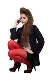 Adolescente na roupa preta e vermelha Foto de Stock