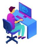 Adolescente no computador e na ilustração 3D isométrica cyberbullying ilustração royalty free