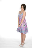 Adolescente no vestido que olha para baixo Fotos de Stock Royalty Free