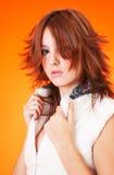 Adolescente novo no branco.   fotografia de stock royalty free