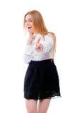 Adolescente o mujer joven aislada en el fondo blanco Imagenes de archivo