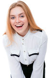 Adolescente o mujer joven aislada en el fondo blanco Imagen de archivo libre de regalías