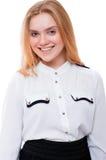 Adolescente o mujer joven aislada en el fondo blanco Fotos de archivo