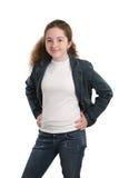 Adolescente ocasional na sarja de Nimes imagem de stock