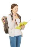 Adolescente pensativo con la mochila de la escuela Imagenes de archivo